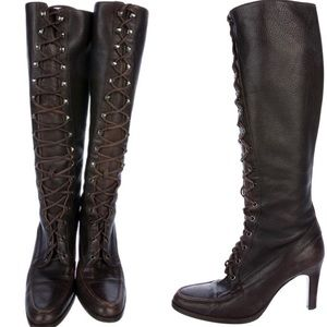 Michael Kors Lace Up Boots-Dark Brown